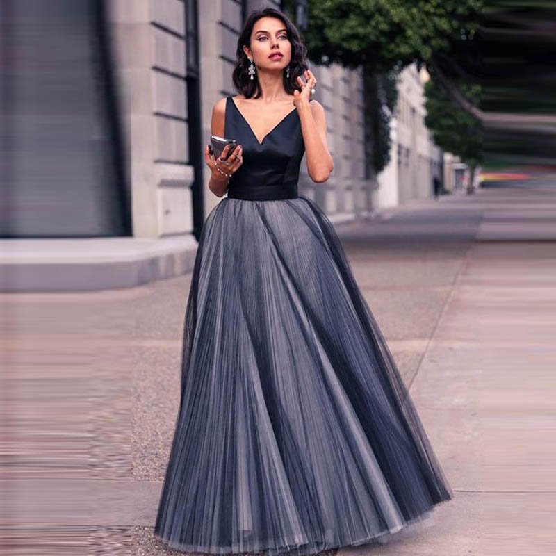 85da73a47e7d Simple Evening Dress Long 2019 Satin Tulle Long Party Gowns Evening Gowns  Abendkleider Vestidos Noche Fiesta Robe De Soiree