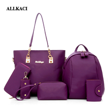 Women Hand Bags Sets Nylon Bag Set Fashion Shoulder Female Purse High Quality 6Pcs/Set Designer Brand Sac Main Femme-5051