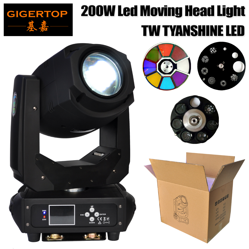 Gigertop Stage Light 200W Blizzard Lighting Spot 200 Watt Gobo LED Moving Head Aura Effect DMX for Show DJ Disco Party Stage 4pcs lot 30w led gobo moving head light led spot light ktv disco dj lighting dmx512 stage effect lights 30w led patterns lamp