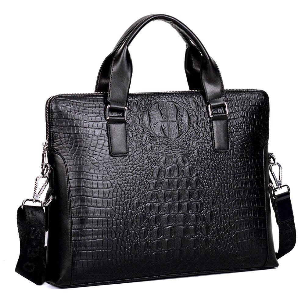 Men's Business Bag Crocodile Pattern PU Leather Messenger Bag Male Casual Shoulder Bag Men's Briefcase Laptop Crossbody Bag redfox сумка full size business messenger 1000 черный