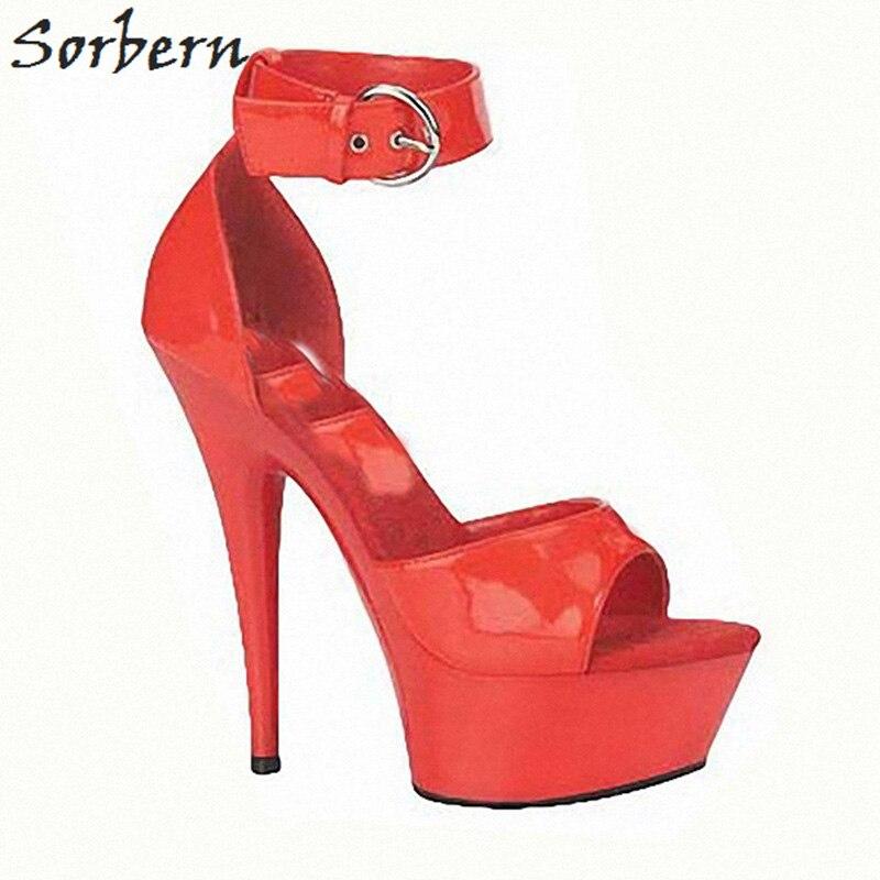 Sorbern bride à la cheville sandales pour femmes talons hauts 15 Cm/5 Cm plate forme talons à la mode talons hauts extrêmes semelle épaisse sandales bricolage couleur - 2