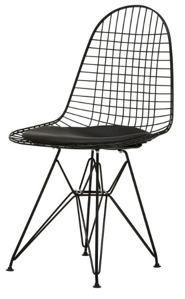 Modern Design Popular Hot Sale Black White Classic Padded Wire Chair Metal  Wire Chair PU Cushion Loft Cafe Dining Chair 2PCS In Dining Chairs From  Furniture ...