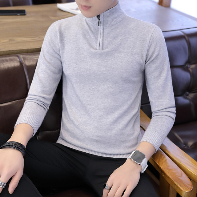 b2974b3f9 2018 Autumn Winter Men Sweater Men's Pullovers Warm Thin Knitwear Zipper  Men Turtleneck Sweater Casual Male Brand Clothing