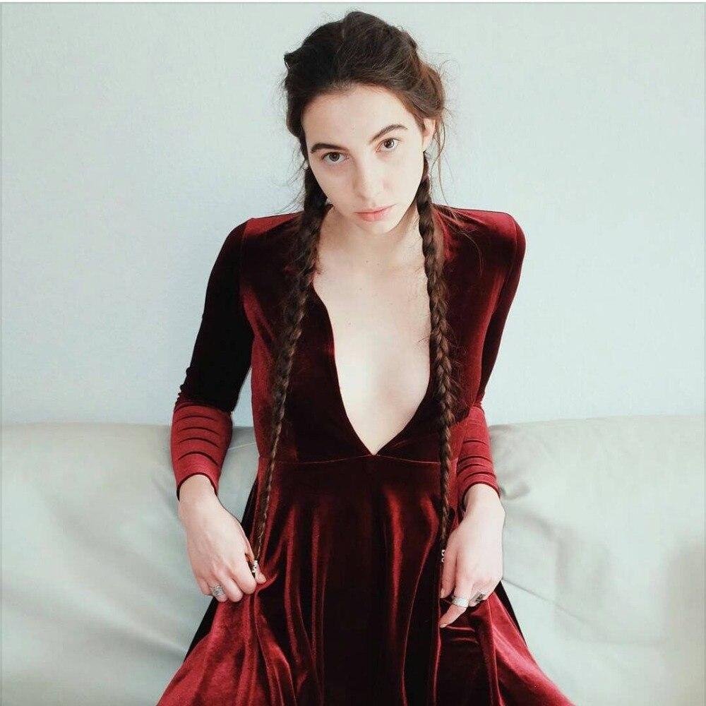 Online Shop Women Velvet Long Sleeve Deep V Skater Dress Sexy Velvet Mini  Dresses  c9f2536aa158