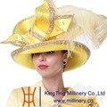 Kueeni Женщины Свадебные Hat Церковь Шляпы мать Невесты Шляпы желтый Цвет Широкими Полями Высокого Края Перо Diamond Корпус Партии Шапки