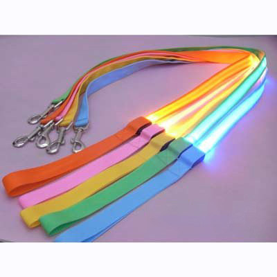 led flashing pet leash rope belt dog harness safety lead lig pet leash pink