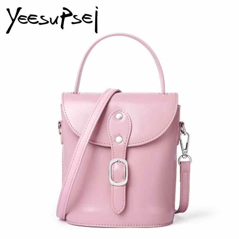 243d8072d1 YeeSupSei Women Mini Handbag Cow Leather Bucket Totes Female Zipper Fashion Shoulder  Bags Women Shopping Hasp