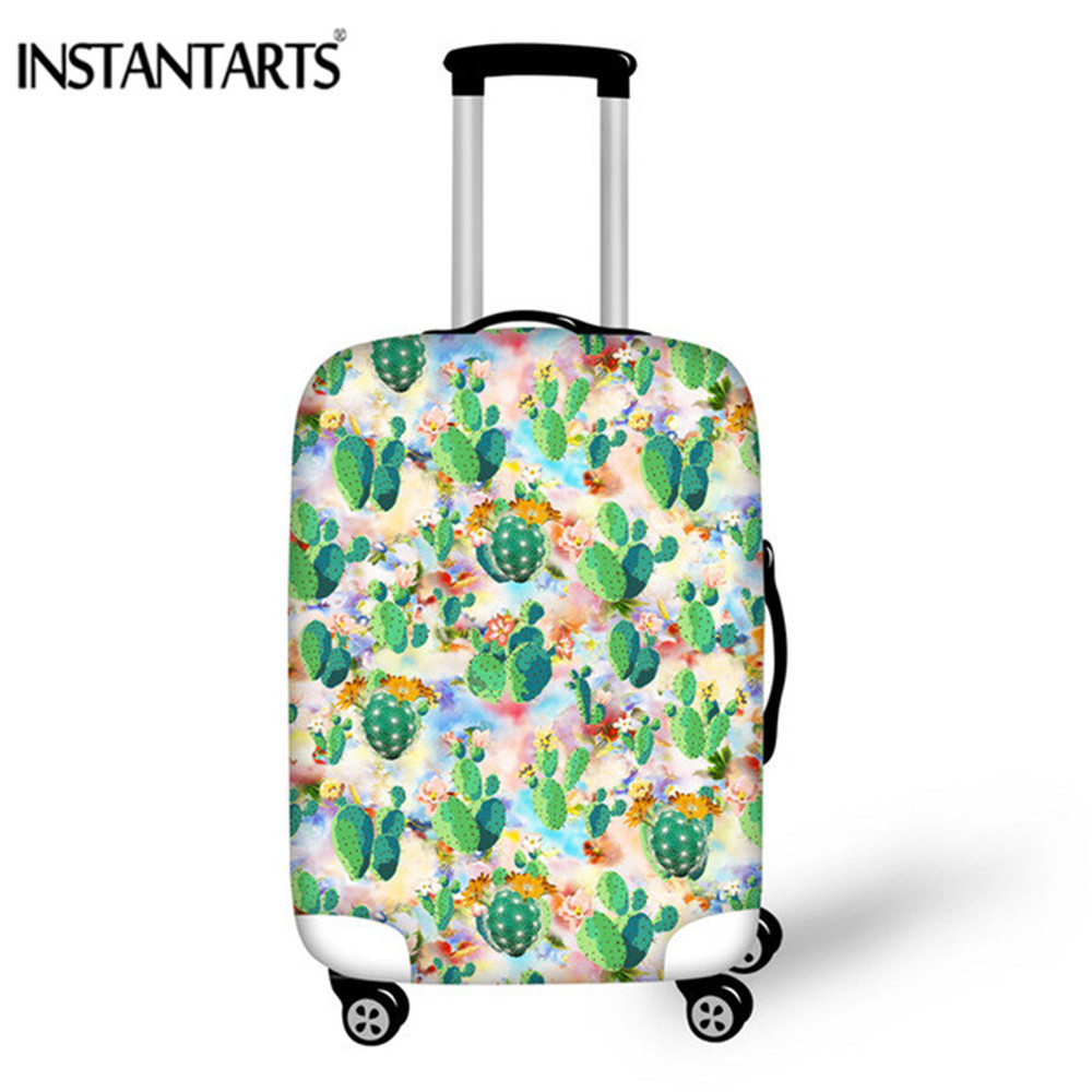 INSTANTARTS Luggage-Case Travel-Accessories Cactus Protective-Cover Elastic Flowers-Printed
