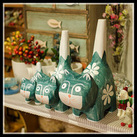 ElimElim 3 Pieces/set Southesat Asia Cat Decoration Figurines Home Decor Christmas Gifts for Sisters Christmas Decoration