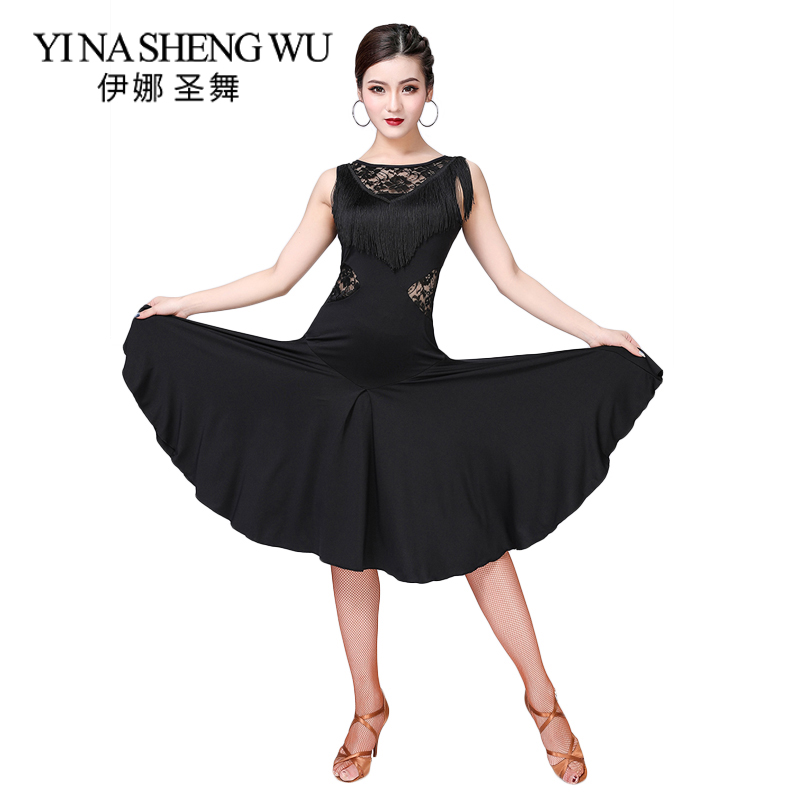 New Latin Dance Costume Women Latin Dance Competition Dress Ballroom Salsa Cha Cha Dance Wear Lace Tassel Dancing Practice Dress