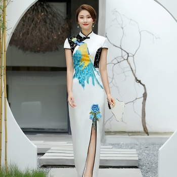 Chinese Traditional Dress Cheongsam Qipao Embroidery Peacock Patchwork Lace Short Sleeve Ao Dai Vietnam Traditional Dress AA4535