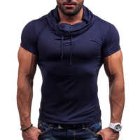 MarKyi fashion 2017 short sleeve hooded t-shirt men good quality eu size mens bodybulid t-shirt slim fit gymwear