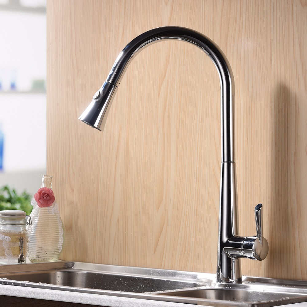 Pull Down Kitchen Faucet  Polished Chrome Put Out Hot and Cold Water Mixer Sink Tap with Dual Spray Control ,Brass pull out kitchen faucet brass single holder put down hot and cold water mixer sink tap black