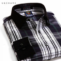 U & SHARK Зеленая Клетчатая Рубашка Мужчины Мода Повседневная С Длинным Рукавом Отложным Рубашки Мужской Одежды Весна Качество Хлопка мужские Рубашки