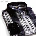 U & SHARK Verde A Cuadros Camisa de Los Hombres de Moda Casual de Manga Larga Da Vuelta-Abajo Camisa Masculina de Ropa de Primavera de Algodón de Calidad Camisas de Vestir para hombre