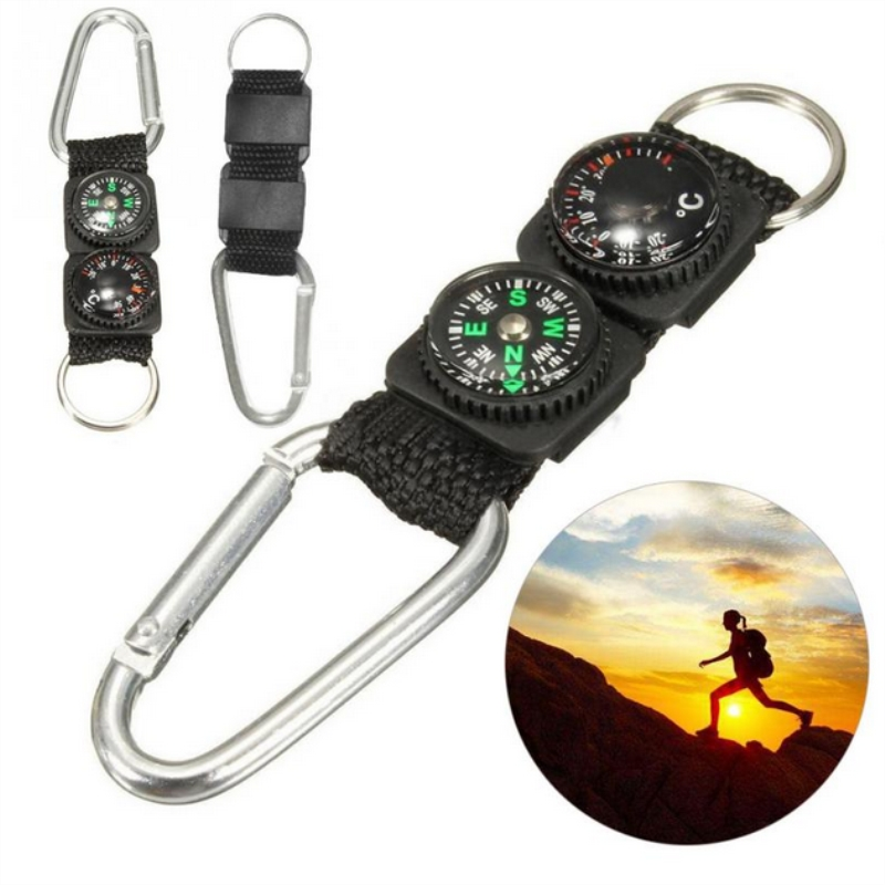 Outdoor Sports Multifunction Accessory Camping Mini Carabiner Keychain Metal Climbing Buckle with Thermometer Compass Key HookOutdoor Sports Multifunction Accessory Camping Mini Carabiner Keychain Metal Climbing Buckle with Thermometer Compass Key Hook