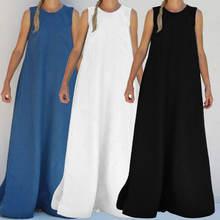 Женское богемное длинное платье макси без рукавов женский летний