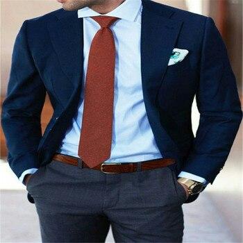 Navy Blue Wedding Suit Men Bridegroom Suit Men Blazer Formal Business Jacket Suit With Pants 2 Piece Slim Fit Men Tuxedo Suit