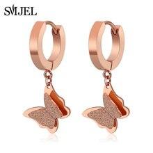 SMJEL – boucles d'oreilles papillon en acier inoxydable pour femmes, bijoux coréen, or Rose, mignon, nouveauté