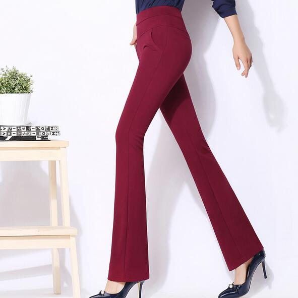 6bb6df7f86d High waist women 2018 stretch office work pants plus size wide leg ladies  formal trousers black red khaki female AH484-in Pants   Capris from Women s  ...