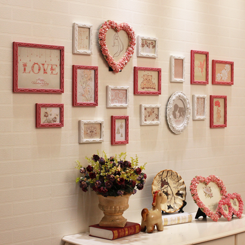 13 15 17pcs modern picture frames romantic foto quadro frame moldura marcos de fotos resin for