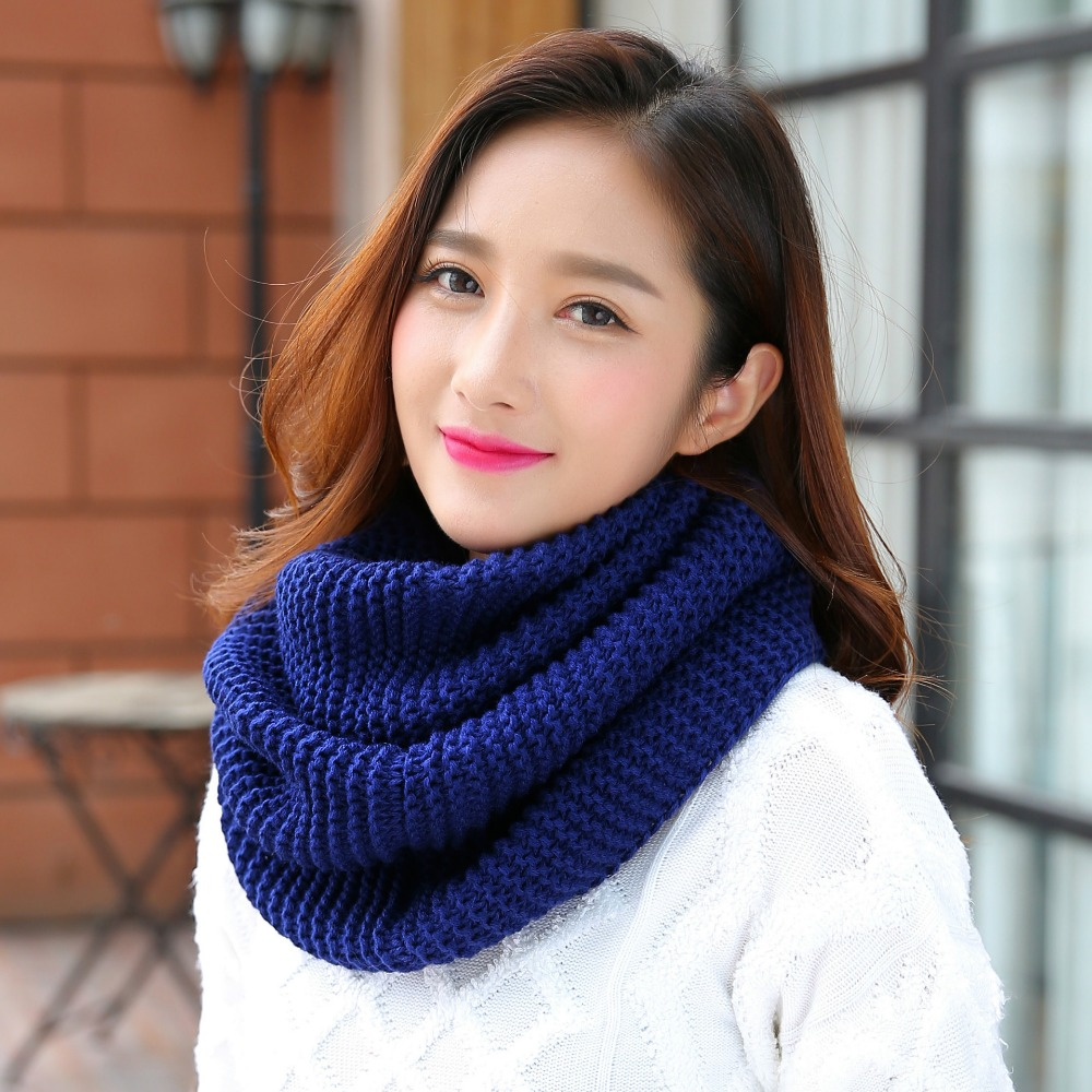 Winter Scarf Unisex Sleeve Head Scarf Solid Color Plush ...