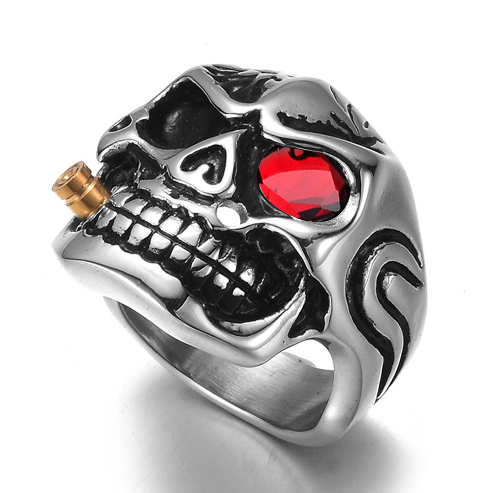Qevila New Fashion Punk Domineering Smokes Skull Head Finger Ring For Men Knuckle Gothic Jewelry Silver Color Biker Rings Male (8)