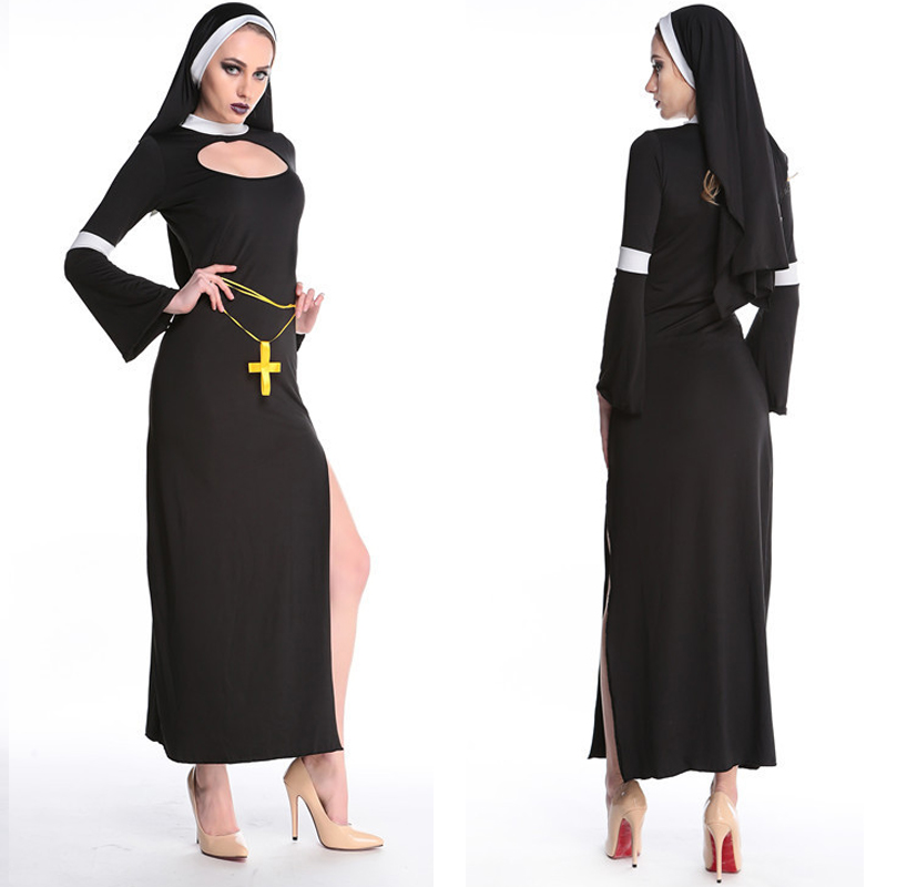 Virgin Mary Nuns Costumes For Women Sexy Long Black Nuns Costume Arabic Religion Monk Ghost Uniform Halloween Cosplay