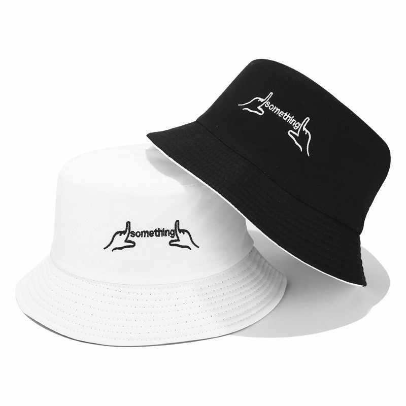 2019 Nieuwe Koreaanse dubbelzijdig dragen creatieve geborduurde visser hoed Casual mode vizier cap mannen en vrouwen Emmer hoed caps