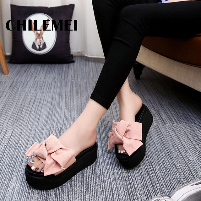 Sweet Butterfly-Knot Summer Women Shoes Platform Anti-Skid Slippers Wedge Beach Flip Flops High Heel Slippers 6cm Rear Height