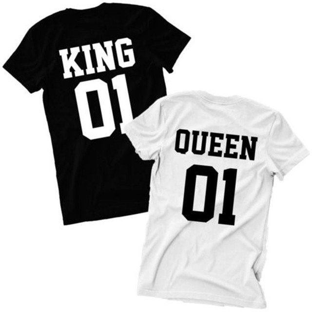 fd79a76766 New Valentine Shirts Woman Cotton King Queen 01 Funny Letter Print Couples  Sport Tops T-shirt Man Short Sleeve O neck T-shirt