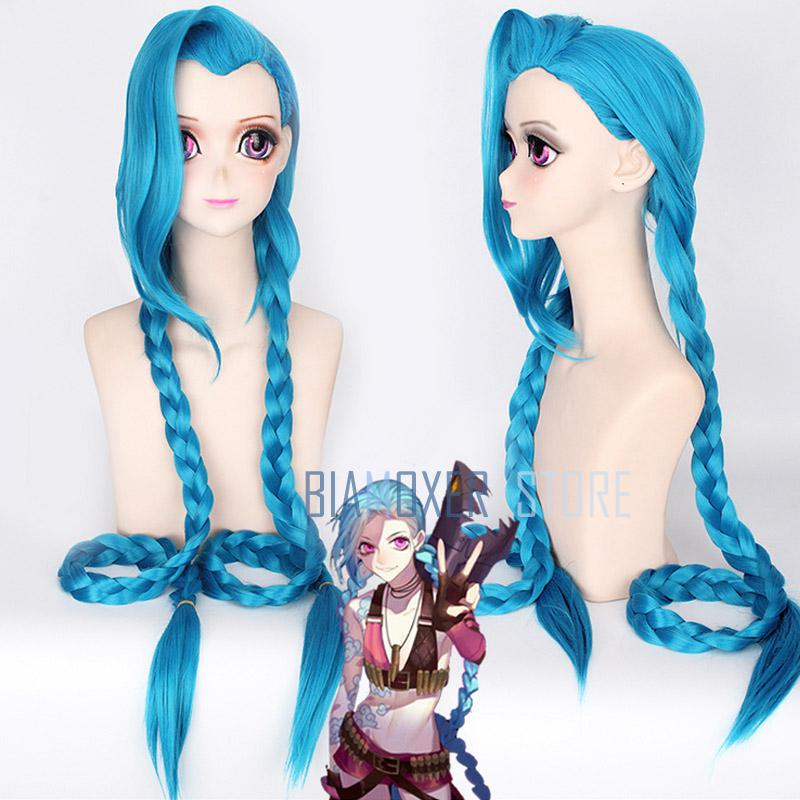 120 см lol-джинкс Косплэй Искусственные парики Для женщин синий двойной хвост косы Обувь для девочек длинные волосы для Хэллоуина Вечерние