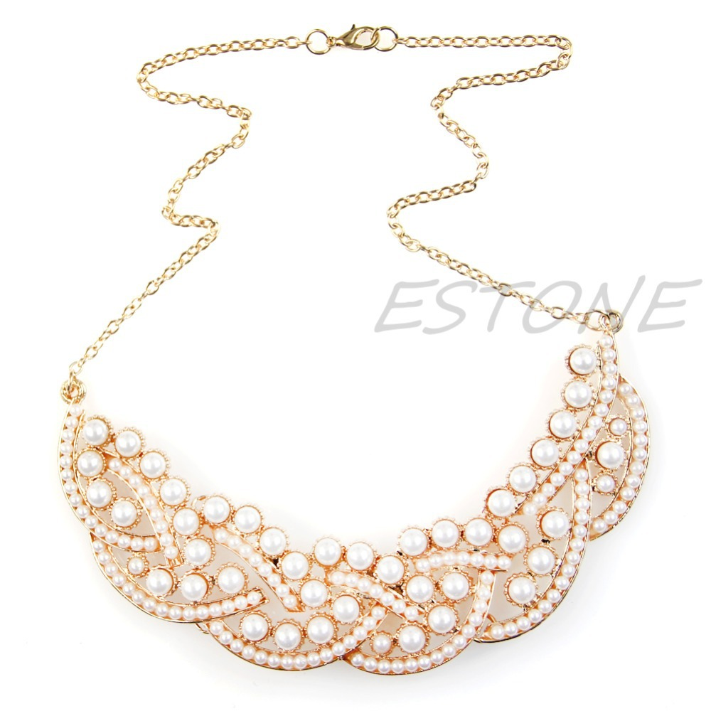 4d9a1743b5a5 Nueva caliente imitación perla hueco oro gargantilla collar babero  declaración collar joyería pendiente