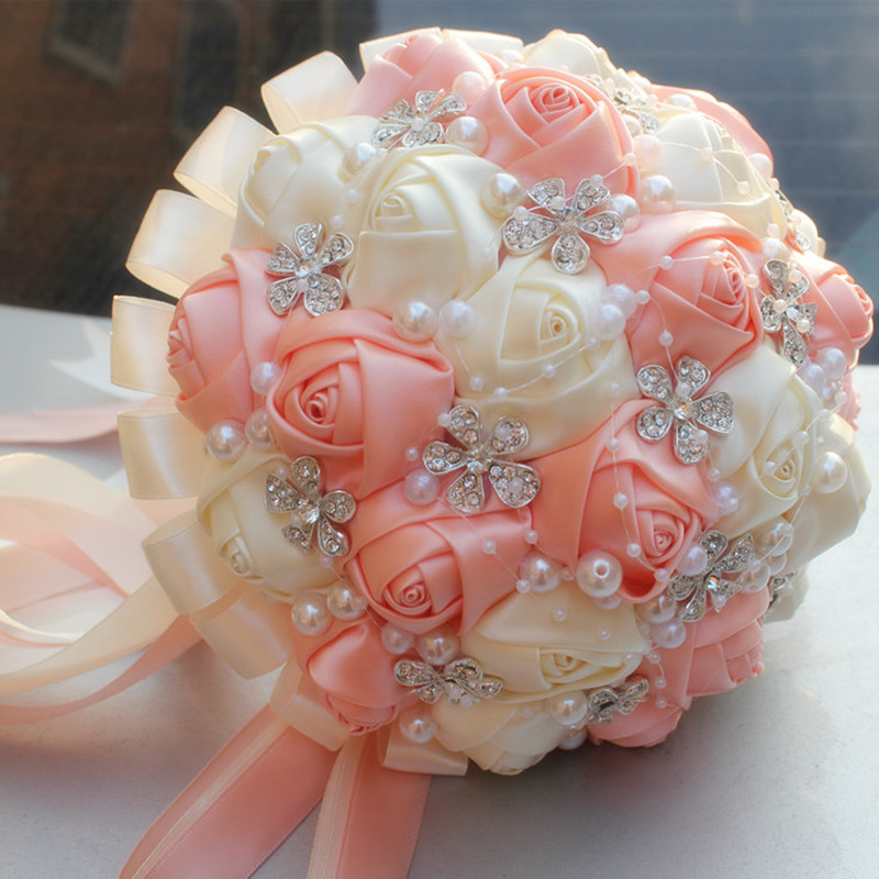 Coral Pink Ivory Champagne Satin Rose Festival Stitch Bouquets ...