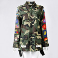 New Autumn winter Letter Print Camouflage Long Basic Jackets Men Women Army Green Coats aqueta feminina Jacket Outwear