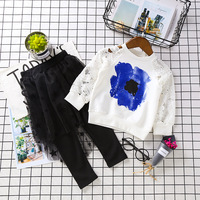 New Autumn Girl Clothing Set Lace Hollow Sweatshirt+mesh Skirt-pants 2pcs Outfit Blue Flowers Graffiti Printed Kids Clothes 2-7Y