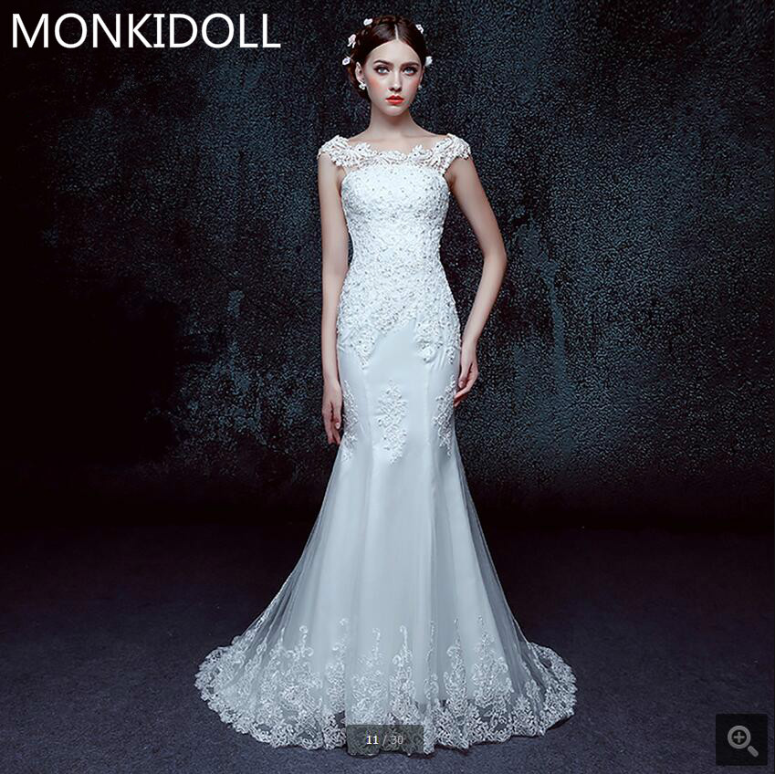 Robe de mariage boho wedding dress 2017 mermaid lace appliques cap sleeve formal wedding gowns slim lace up bride dresses