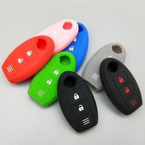 Image 4 - Chave eletrônica para carro, proteção de chave, para nissan 2017 2018 qashqai skyline juke alissa x trail 2 botões, borracha remota, silicone conjunto de capa de proteção