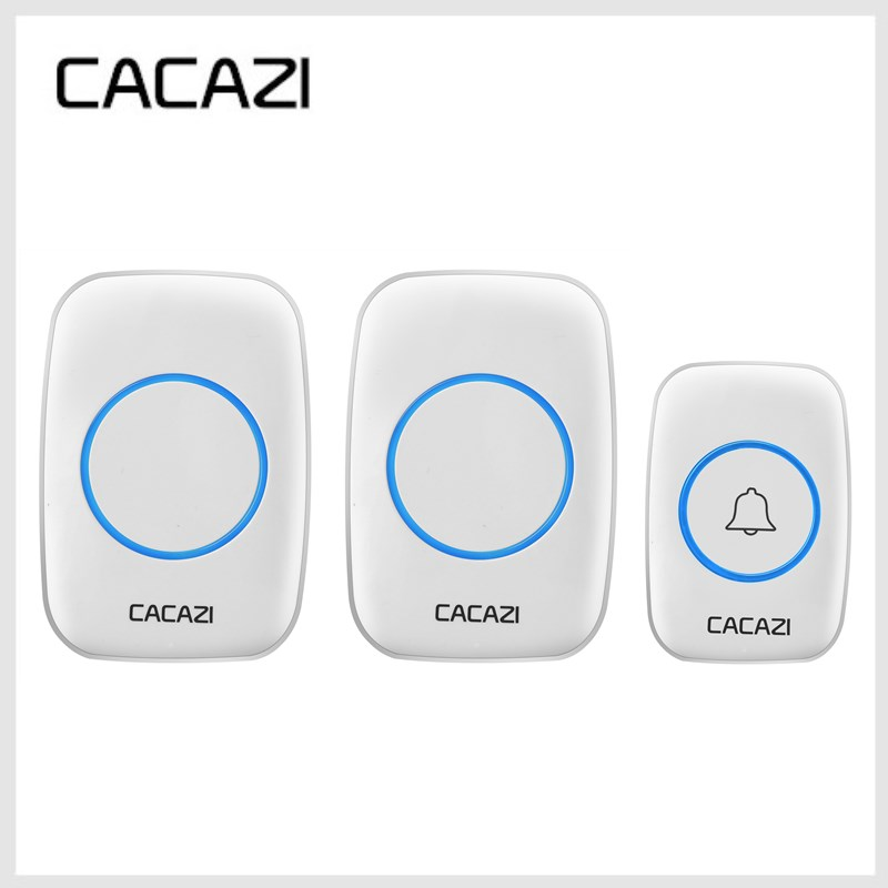 CACAZI New White Waterproof Wireless Doorbell 300M Remote EU/US Plug smart Door Bell Chime 220V 1 battery button 2 receivers