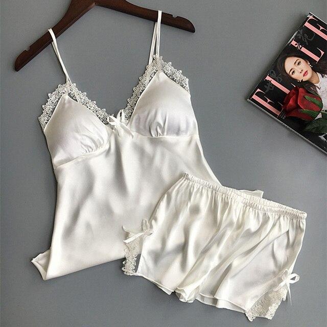 c284ca0530 ... Lingerie Women s Satin Silk Pajama Summer Spaghetti Strap Sleepwear  lace pijama pyjamas women home clothes bathrobe 2018. Previous. Next