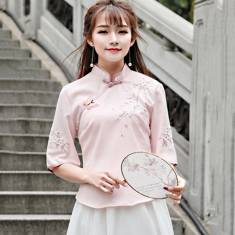 China Clothing Store 2018 New Spring Summer Folk Style Women Retro Embroidery Cheongsam Top Shirt Chinese Clothings Pink S-XL image