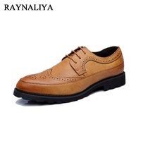 2018 Male Luxury Leather Brogue Men Flats Casual British Style Oxfords Fashion Brand Dress Shoes For