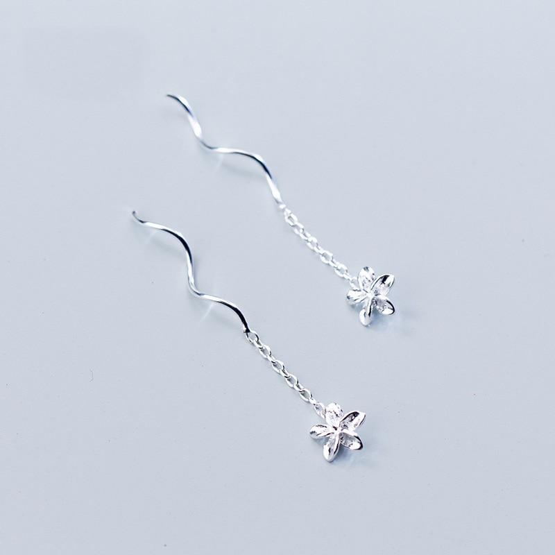 INALIS, модные простые спиральные цепочки, линия уха, S925 серебро, цветок, висячие серьги, хорошее ювелирное изделие, для девочек - Цвет камня: Silver