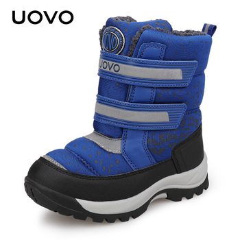 Water Repellent Boots Kids Winter Snow Boots UOVO New Children Warm Outdoor Boots Boys and Girls With Plush Lining #29-37 2016 winter new kids boots girls boys super perfect school outdoor free shipping chaussure snow boots super soft and comfortable