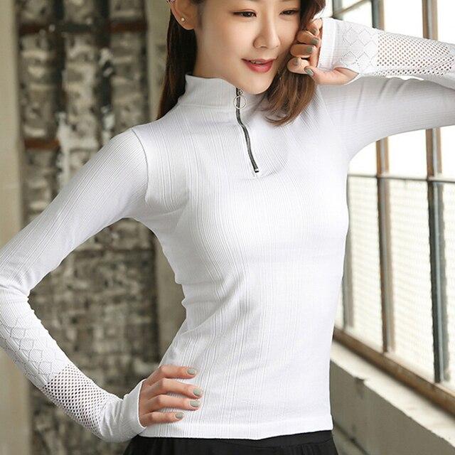 8d1189b0c4c5 Sin Costuras de gimnasio manga larga Mujer Deporte Yoga superior  entrenamiento Tops camiseta transpirable deportes ropa Fitness para Jersey