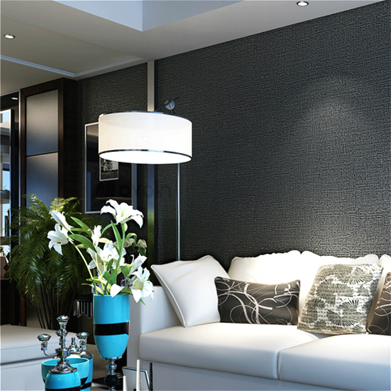 Silver black wallpaper roll modern design nonwoven wall for Silver wallpaper living room