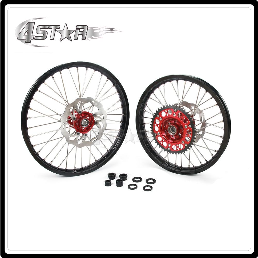Мотоцикл обода колеса ступицы комплект 1.6*21 1.85*19 для Honda CR125 CR250 CRF250R CRF250X CRF450R CRF450X