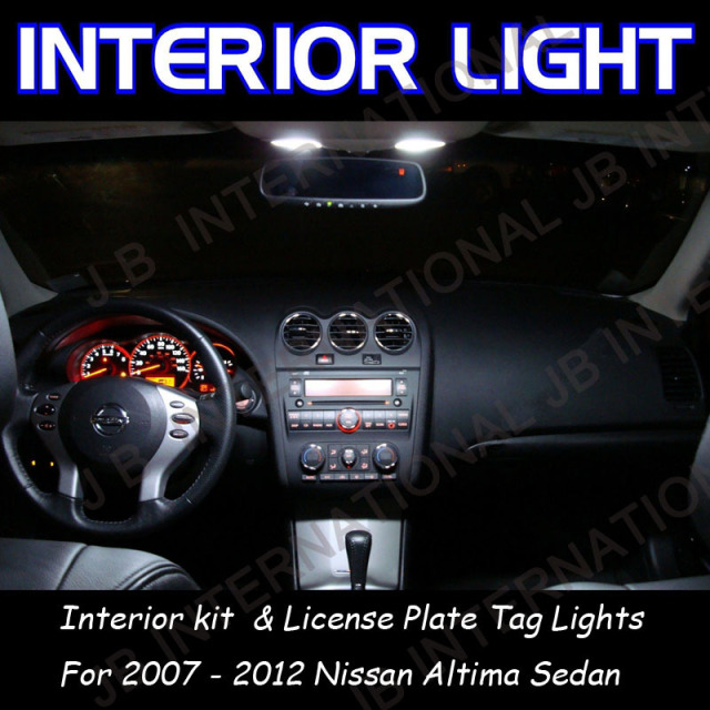 Car Interior Kit Whiteu0026Plate Lights For Nissan Altima Sedan 2007 2012 LED  Map Dome Door