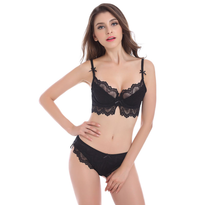 d3df4d6fd3 Ladychili Large SizeCDEF French Sexy Transparent Lingerie Lace Embroidery  Thin Cup Bra Panties Suit Bombshell Underwear Set N301-in Bra   Brief Sets  from ...
