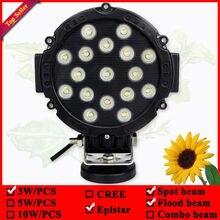 7inch round 51W black led driving light used for truck 4wd 4x4 suv atv ute 17leds 51w led offroad light led work light 12v light